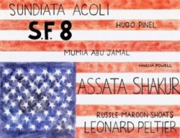 Artwork by Marritte Funches depicting the flag in opposite direction with names of political prisoners written on it